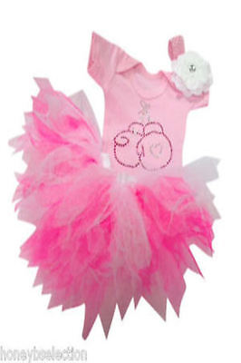 Baby Grow Neon Pink Tutu Diamante Boxing Headband Bling 80S Fancy Dress Party