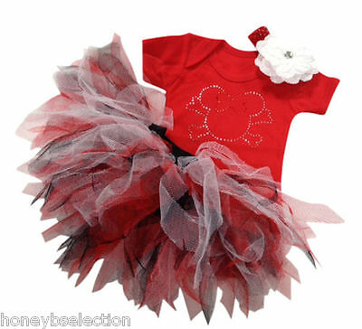 Red Minnie Mouse Pirate Skull Sparkle Baby Grow Neon Tutu Fancy Dress Costume