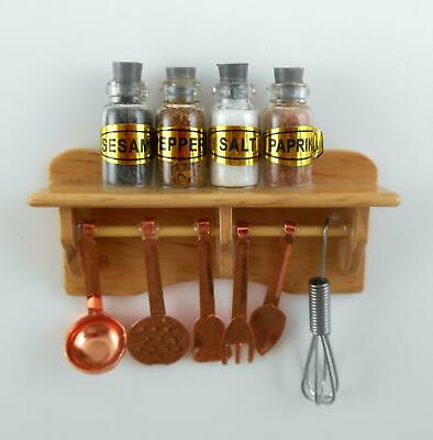 Dolls House Miniature Kitchen Accessory Shelf with Spices Hanging Copper Utensil