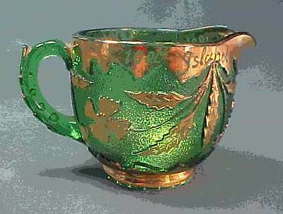 Green Delaware Early American Pattern Glass Cream Pitcher 1000 Islands