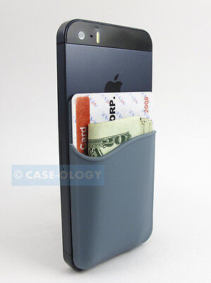 Grey Silicone Pocket Id Card/money Holder For Phones/cases Sticky Rear Adhesive