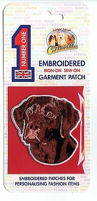 Chocolate Labrador - Embroidered Garment Patch - Iron On - Sew On