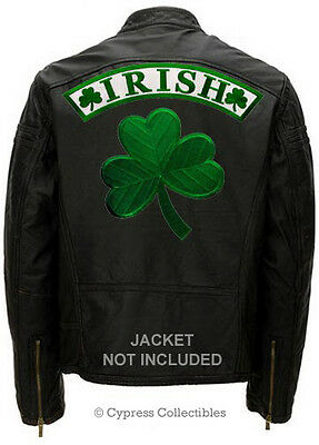 IRISH SHAMROCK LUCKY PATCH CLOVER - LOT 2 LARGE BACK PATCH embroidered iron-on
