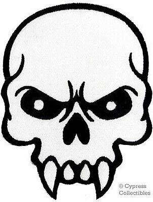 MEAN SKULL iron-on embroidered PATCH POISON SKELETON FANGS EVIL BIKER applique