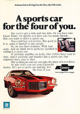 1971 Chevrolet Chevy Camaro - Four - Classic Vintage Advertisement Ad D146