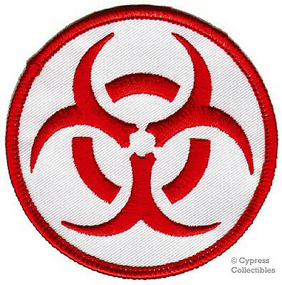 BIOHAZARD SYMBOL embroidered iron-on PATCH RED LOGO new TOXIC WARNING DANGER