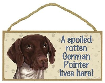 GERMAN SHORTHAIR POINTER- A Spoiled Rotten---Lives Here Wood SIGN/PLAQUE 5 X 10