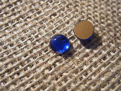 1 8mm Round Flat Back Cabochon Sapphire Blue Glass Gold Foil Backed