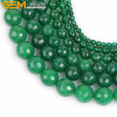 "Faceted Green Jade Stone Loose For Jewelry Making 15"" Wholesale Jewelry Beads"