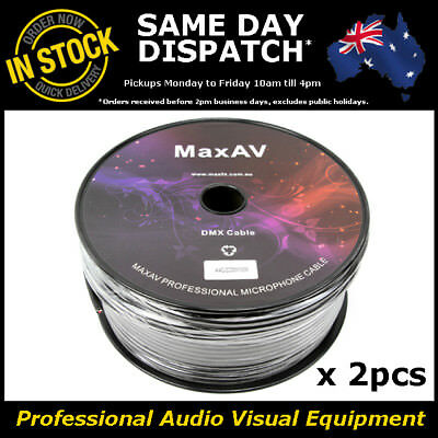 2x High Quality Shielded Pro True DMX Cable Wire Lead 100 Metre Roll 100m 2 Core
