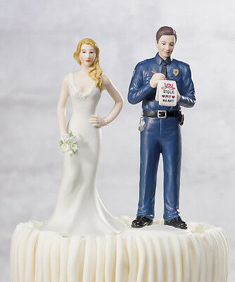 A Love Citation Police Officer and Bride Funny Policeman Wedding Cake Topper