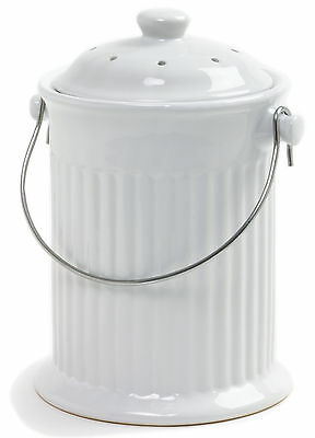 Norpro 93 Ceramic Compost Keeper Kitchen Composter, White