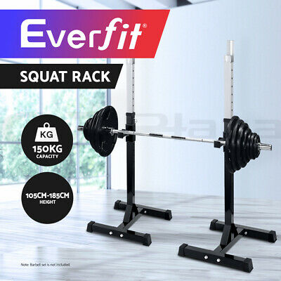 2 x Squat Rack Everfit Bench Press Home Gym Weight Lifting Barbell Stand Fitness