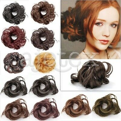 HOT Synthetic Black Brown Blond  Extension Hairpiece Hair Bun Drawstring Clip In