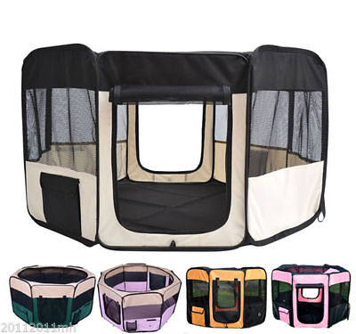 Pet Playpen Exercise Puppy Dog Pen Kennel Folding Design Easy Storage 5 Options