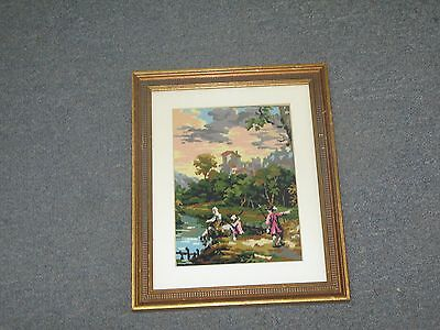"""Vintage Micro Petit Point Tapestry Needlepoint Framed 8"""" x 6"""" - 10"""" x 13"""""""