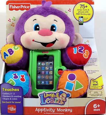 Fisher Price Laugh & Learn interactive APPTIVITY MONKEY iPhone iPod 6+ months