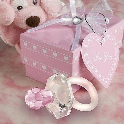 60 Crystal Pink Pacifier Baby Shower Favors