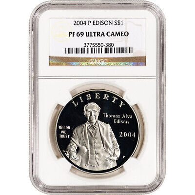 2004-P US Thomas Alva Edison Commem Proof Silver Dollar - NGC PF69 UCAM