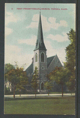 1909 FIRST PRESBYTERIAN CHURCH TOPEKA KANS POSTCARD