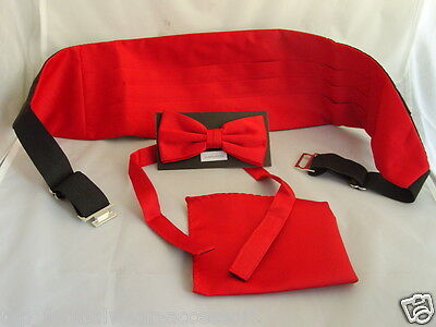 < Deal >RED Polyester Mens Bow tie + Cummerbund & Hankie Set >P&P 2UK >1st Class