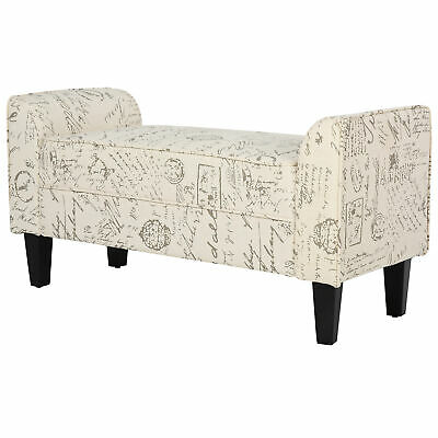 Armed Scripted Bench Seat Cushions Home Furniture Upholstered Cream New