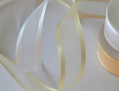 10m pretty satin edge organza ribbon ivory white wedding decoration flowers craf