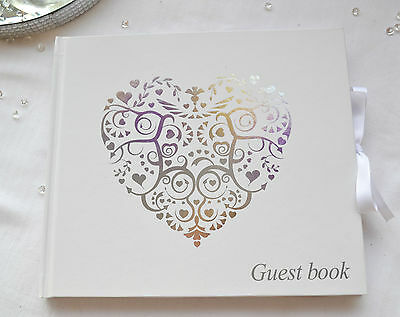 Beautiful ivory wedding GUEST BOOK  with gold Vintage Romance heart design