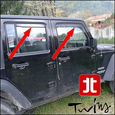 Set 4 Deflettori Aria Antiturbo Oscurati Jeep Wrangler Unlimited JK 5p 2007-2018
