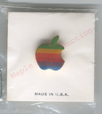 NEW/SEALED Vintage Apple Computer Rainbow Logo Pin AUTHENTIC 1980's-90's