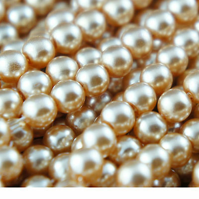 140pcs Beads 6mm Champagne Color Imitation Acrylic Round Loose Pearl Spacer