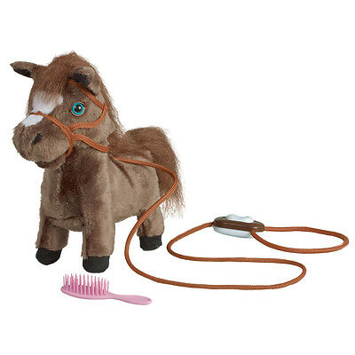 Cute Trotting Pony Toy - Battery Powered Horse that Neighs with Control & Brush