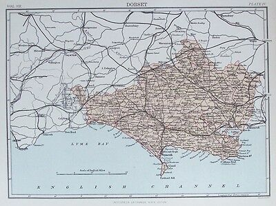 OLD ANTIQUE MAP DORSET c1880's by W & A K JOHNSTON 19th CENTURY PRINTED COLOUR