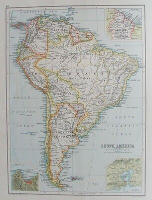 OLD ANTIQUE MAP SOUTH AMERICA c1906 by BARTHOLOMEW 19th CENTURY PRINTED COLOUR
