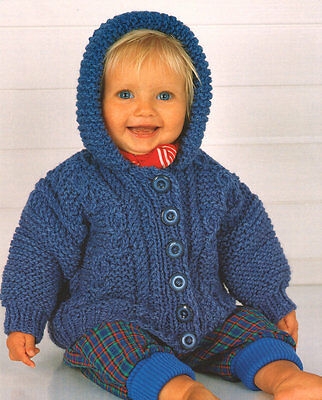 """Chunky Cable Baby Jacket with Hood 18"""" - 24"""" Lovely Knitting Pattern"""