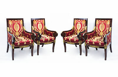 Fabulous Set of 4 Empire Style Mahogany Armchairs