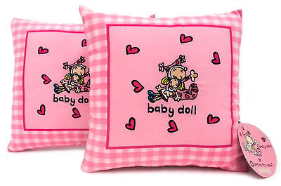 Bang On The Door 2x Embroidered Polycotton Cushion Covers Girl Baby Doll Pink