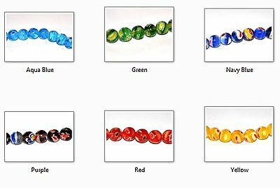1 STRAND OF GLASS ROUND COLOURED MILLEFIORI BEADS - 6mm 8mm - CHOOSE YOUR COLOUR