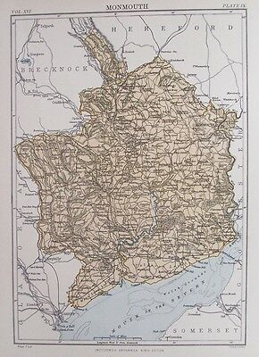 OLD ANTIQUE MAP MONMOUTHSHIRE SIR FYNWY c1880s by JOHNSTON 19th C PRINTED COLOUR