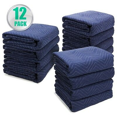 """Permium Pro Moving Blankets Padded Furniture Pads 12 pk 72"""" x 80"""" 40-45 lbs/Doz"""