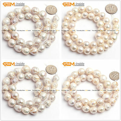 """Natural White Round Edison Nucleated Pearl Jewelry Making Beads 15"""" Size Select"""