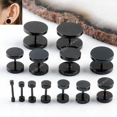Men Women Black Steel Flat Round Ear Stud Fake Cheater Plugs Barbell Earring Hot