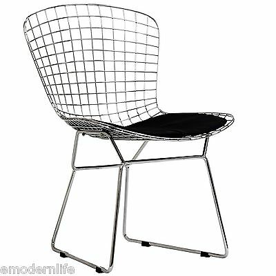 modern bertoia style dining side chair mid century modern design : black pad