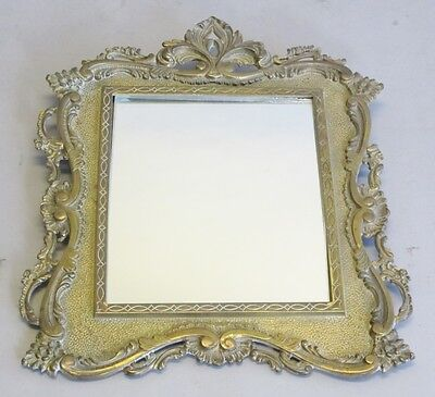 Fine Antique 19th C. French Gilt Brass Reticulated Mirror  c. 1870  Hand-Chased