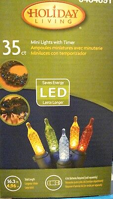 35 ct LED MULTI COLOR MINI LIGHTS W/ TIMER INDOOR OUTDOOR COOL TOUCH GREEN WIRE
