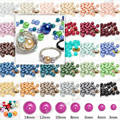 3mm 4mm 6mm 8mm 10mm 12mm 14mm Glass Pearl Loose Spacer Round Bead 31 Color