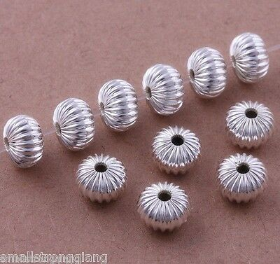 50 pcs Silver Plated Flat Corrugated Loose Spacer Beads findings Charms 8mm