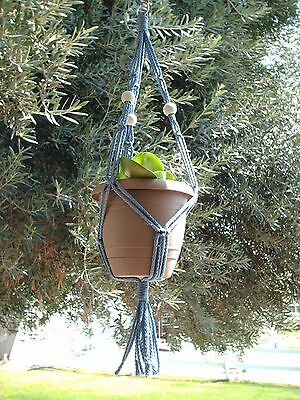 MACRAME PLANT HANGER 20in FRIENDSHIP -Sky Blue with White Beads