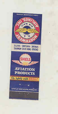 1940s Northwest Airlines Airplane Shell Aviation Gasoline Matchbook Cover mb2828