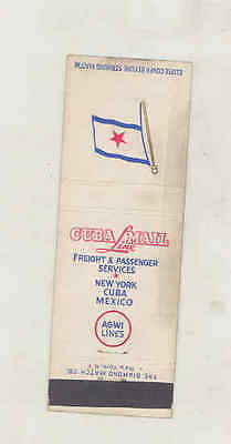 1940's Cuba Mail Line AGWI Airplane Matchbook Cover New York Cuba Mexico mb2836